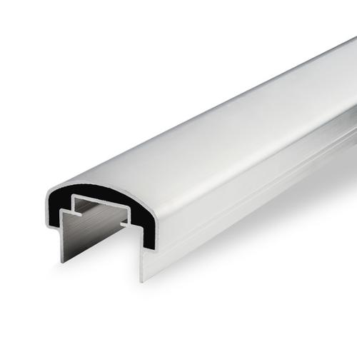 Aluminium handrail profile, EN AW-6060, Mill-finish, T66