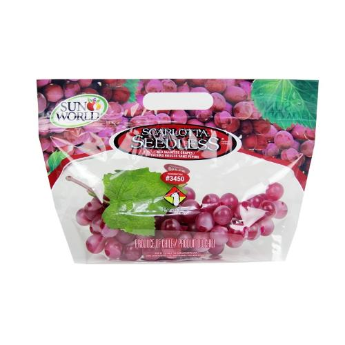 Plastic Stand up grape pouch bag with zipper