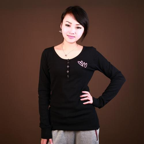 Wholesale custom long sleeve printed rib t shirt women