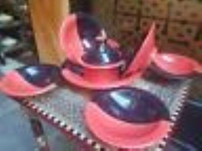 Service à couscous bicolore corail & noir-6 pers