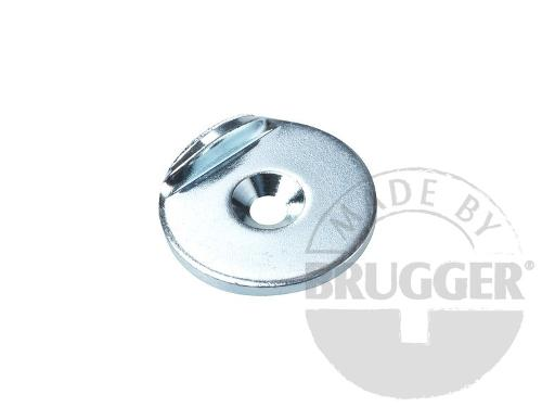 Metal disc with bore and counter bore, stop edge 90°