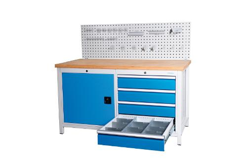 Workbench 1500 with 4 drawers front height 150 mm and...
