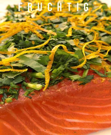 Lachs gebeizt (Graved) mit Orange, Ingwer und Koriander