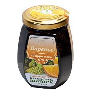 Pine cone jam with orange zest, 250 g