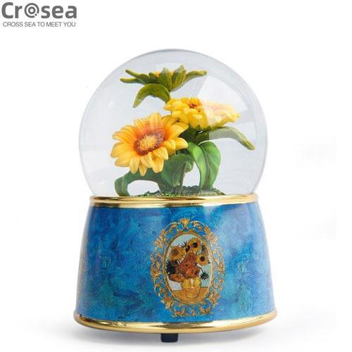 Handmade Custom Sunflower Snow Globe Item