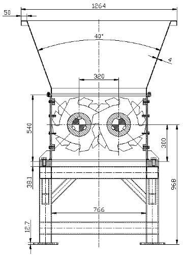 Triturador de dos ejes, planos completos.
