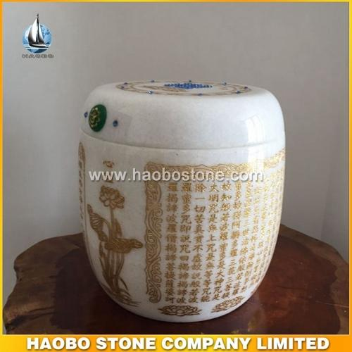 Haobo stone white marble cremation urns for ashes