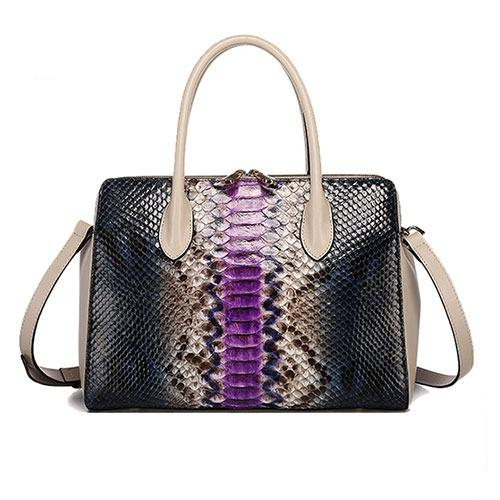 Luxury women real crocodile leather shoulder bag glossy pruple