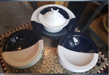 Service à couscous bicolore bleu & blanc-6 pers