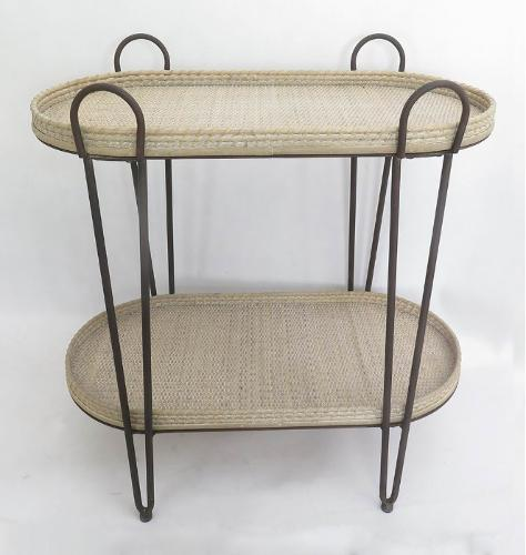 Oval Rattan Bamboo Woven Trays on Two Layers Iron Collet