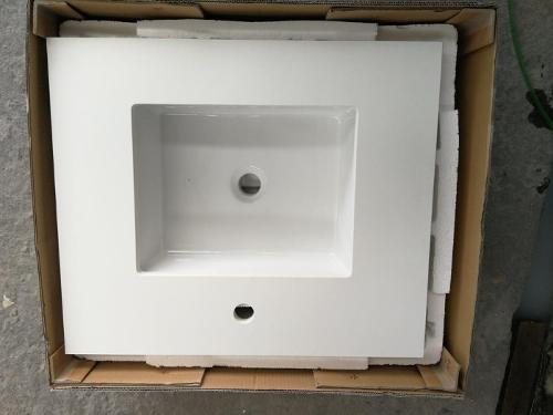 Artificial Stone Quartz Pure White Vanity with Sinks