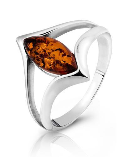 Srebrny pierścionek próby 925 z bursztynem