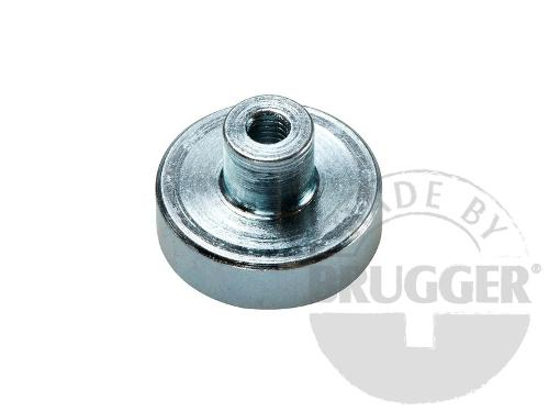 Flat pot magnets SmCo, with screwed bush, galvanized