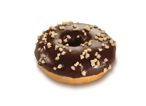 Nougat-Cream Donut, dark Glaze decorated with Almonds