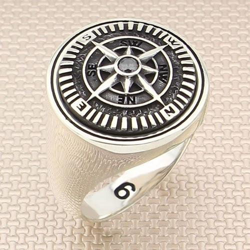 925 Sterling silver compass ring