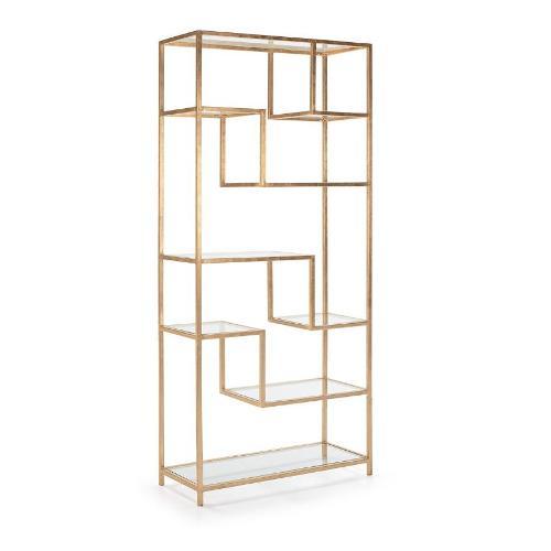 Regale 91x38x203 Glas / Metall Golden - Regale Bildschirme