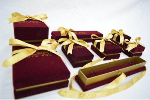 Dark Red Suede Cloth & Gold Paper with Ribbon