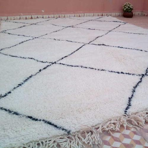Tapis Beni Ouarain laine blanc & noir 200 x 300 cm, Maroc