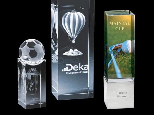 Ehrenpreise aus Glas mit 3D Gravur oder Druck