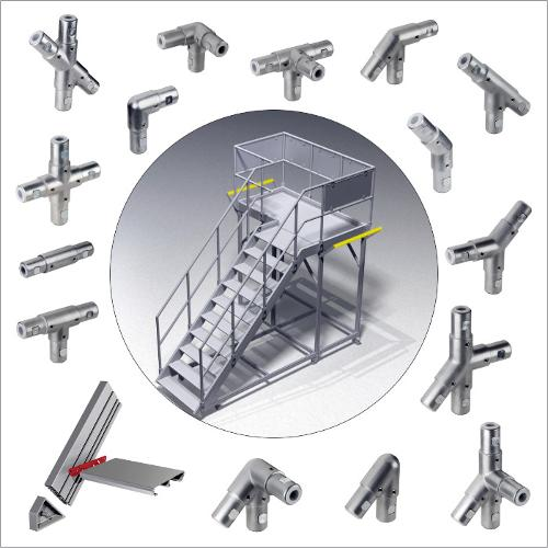 Tube connectors for industrial staircases, railings and work