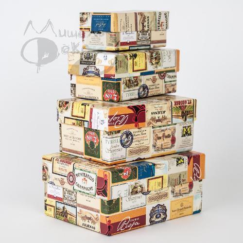 Набор коробок №6 4 в 1 винные этикетки 15х11х7 - 9х5х4см