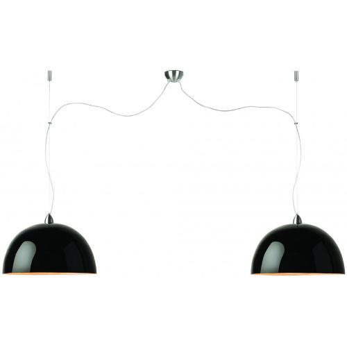 Lampe à suspension bambou HALONG 2 abat-jours (noir)