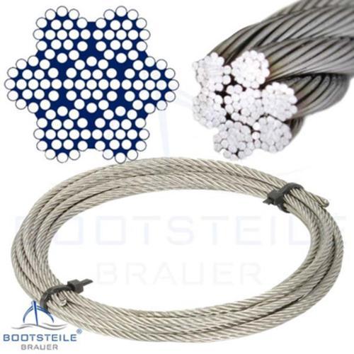 Edelstahl - Drahtseil 7x19 weich/flexibel - Edelstahl A4 DIN