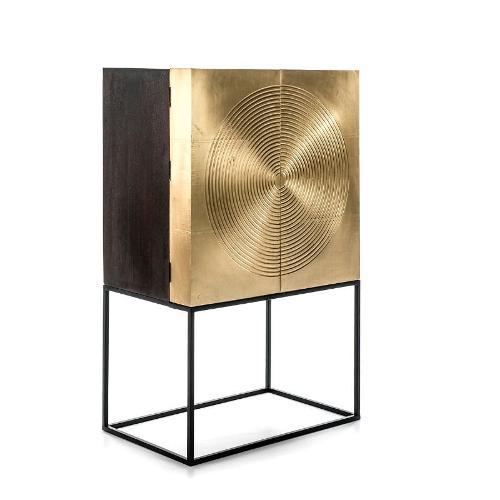 Bar Möbel 91x56x152 Holz Golden/schwarz/metall Schwarz - Schrank, Buffet