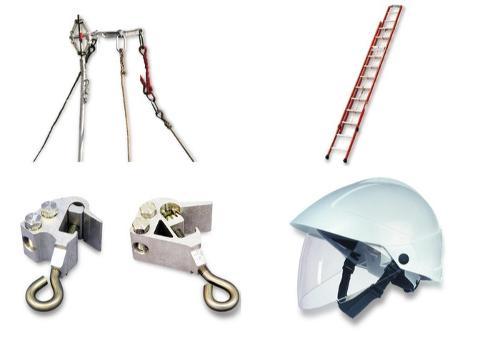 Mastsicherungsgerät, Leiter, Stromentnahmeklemme, Helm