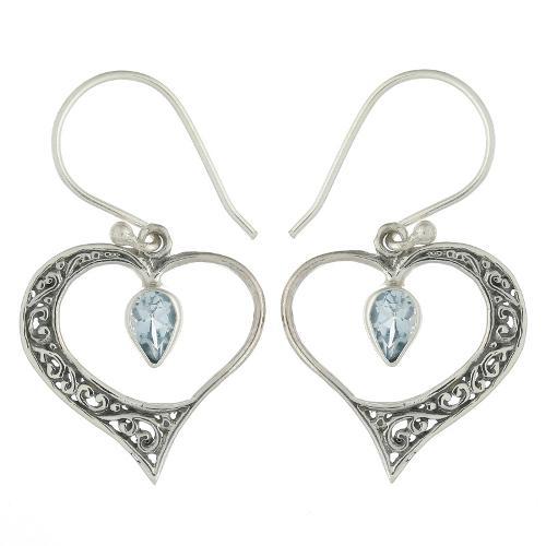 Sterling Silver Blue Topaz Heart Dangle Earrings
