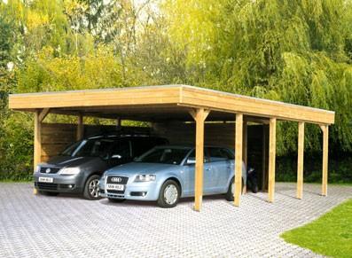 Carport double en bois avec atelier