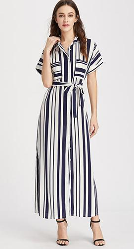 Ladies stripes printed dress