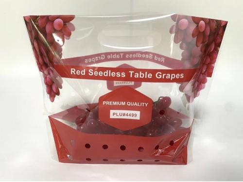 Red seedless table grape pouch bag with carry handle