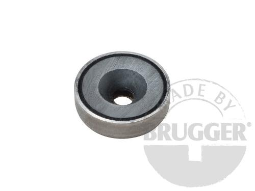 Flat pot magnets hard ferrite, with bore and counter