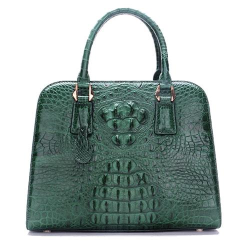 Luxury women gold painted genuine crocodile leather handbag