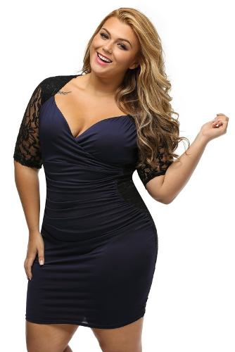 BLACK BLUE RUCHED LACE ILLUSION PLUS DRESS