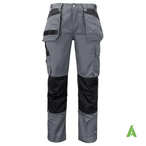 Pantaloni estivi da lavoro protettivi con tasche e logo.