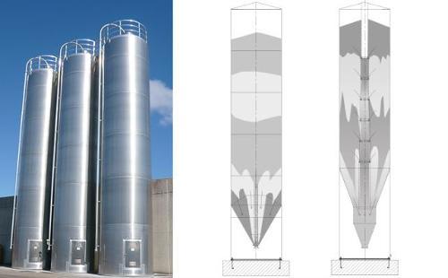 Gravity mixing silos
