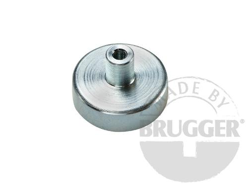 Flat pot magnets hard ferrite, with screwed bush, galvanized