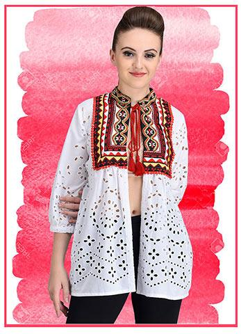 Cotton embroidered shifli Top