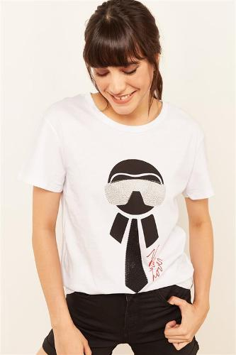 Woman White Stone And Printed T-shirt