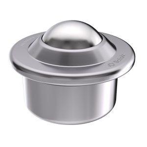 Rotella a sfera in lamiera d'acciaio con collare