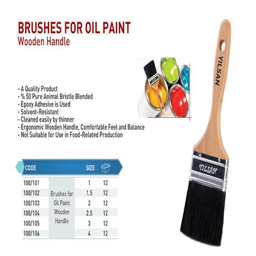 Brushes for oil paint wooden handle
