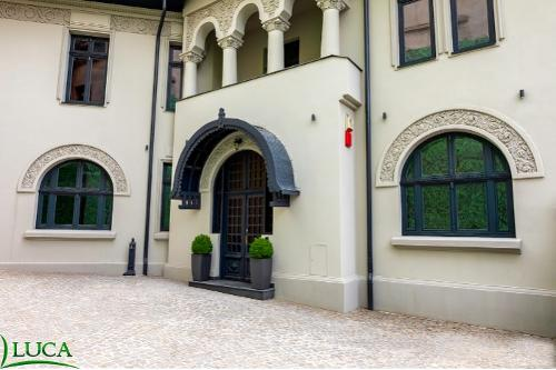 Arched wooden windows