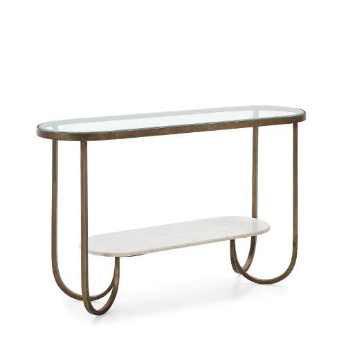 Konsole 122x39x76 Glas/marmor Weiss/metall Golden - Schrank, Buffet, Verbindung