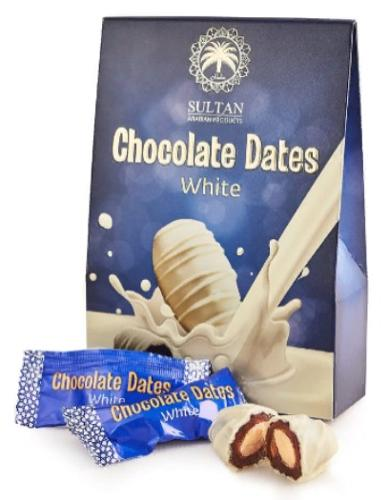 Chocolate dates with almond, White 100g