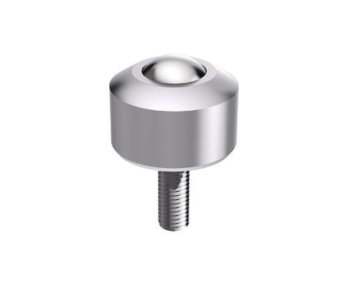 Solid ball caster MINI without collar, threaded pin, conical