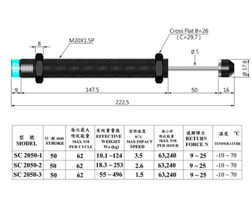 SC2050 non-adjuastable type shock absorbers