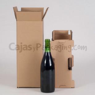 Caja de cartón para envío de 1 botella 75cl. con protector.