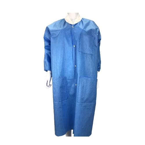 Laboratory coats fastened with snap buttons at the front no